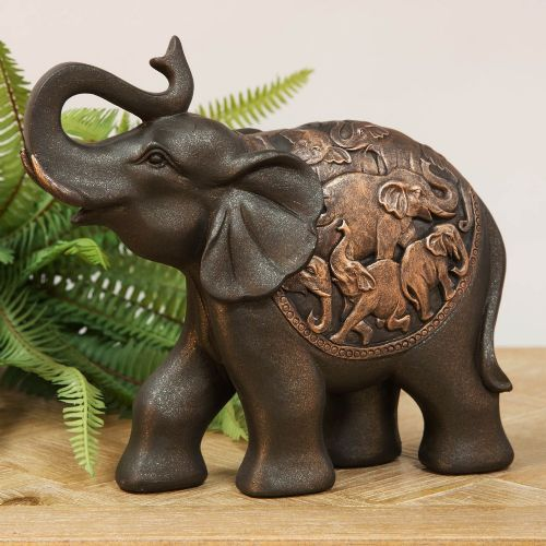 Elephant Figurine in Bronze Finish With Trunk Raised Feng Shui Home Decor